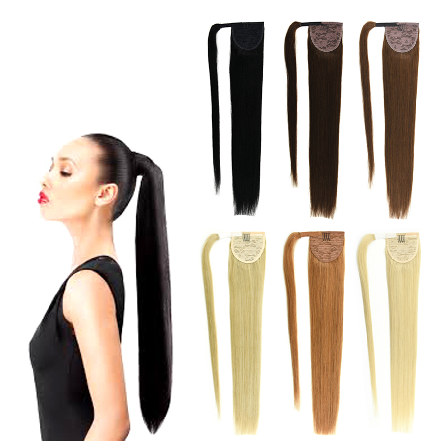 14 32 Inch Wrap Around Clip In Human Hair Ponytail Extensions