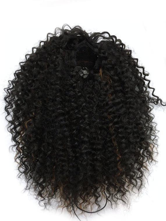 14 32 Inch Draw String Human Hair Ponytail In Kinky Curly 1b30