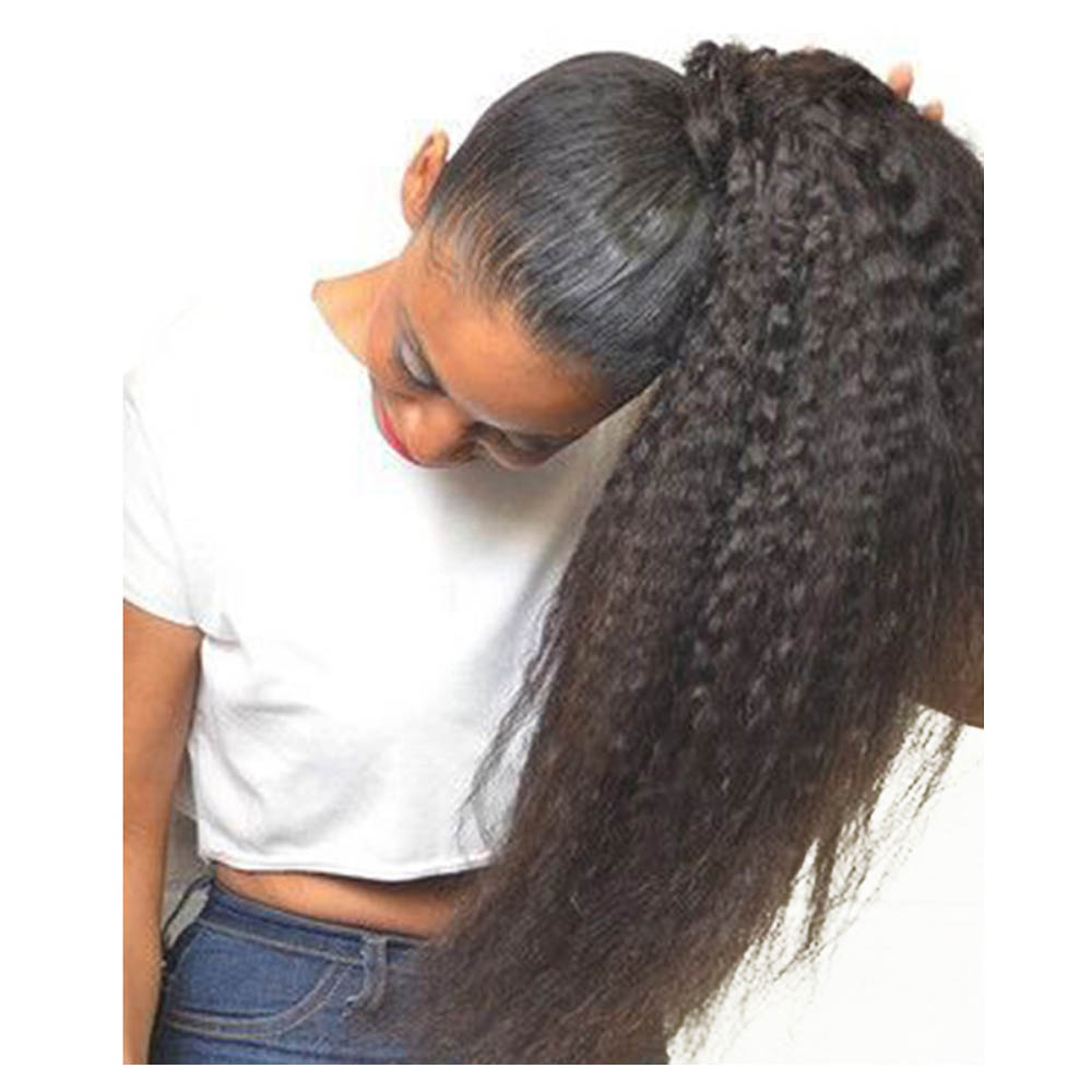 14 32 Inch Wrap Around 100 Human Hair Ponytail In Kinky Straight 1b