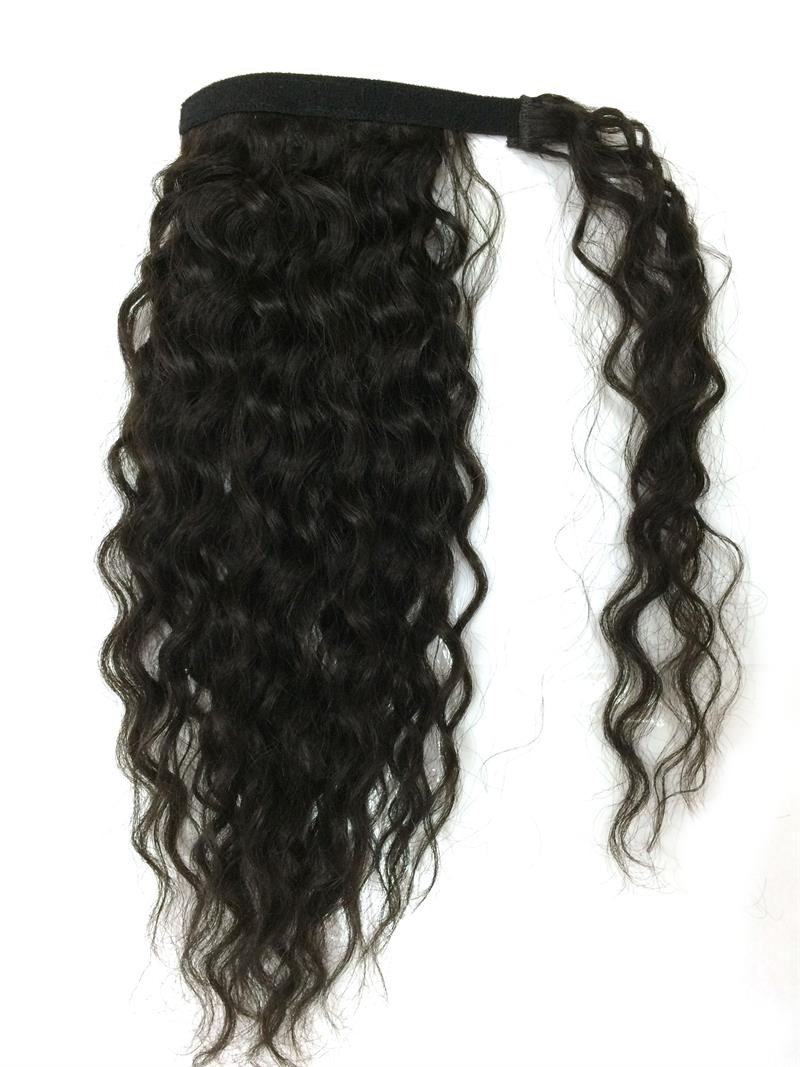 14-32 Inch Wrap Around 100% Human Hair Ponytail in Deep Bodywave #1B