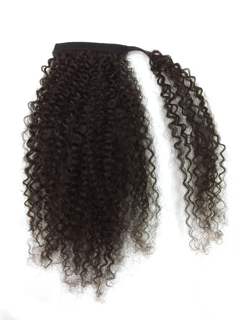 10-32 Inch Wrap Around 100% Human Hair Ponytail in Kinky Curly #1B