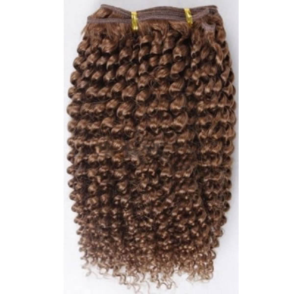 14 Inch  #6 Light Brown Afro Curl Brazilian Virgin Hair Wefts no 1