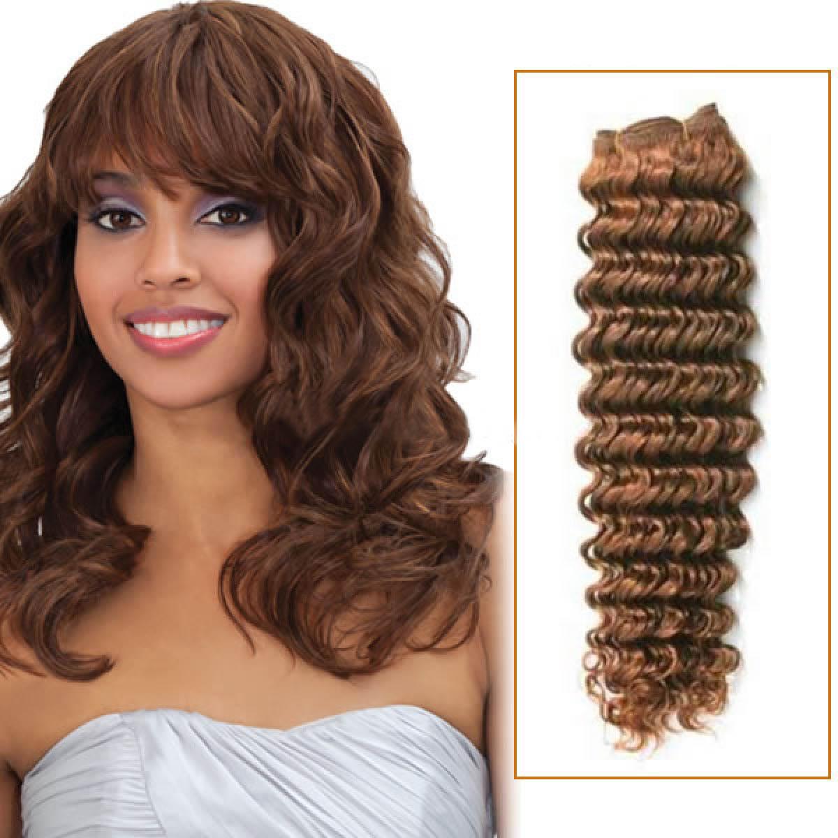 14 Inch  #6 Light Brown Deep Wave Brazilian Virgin Hair Wefts