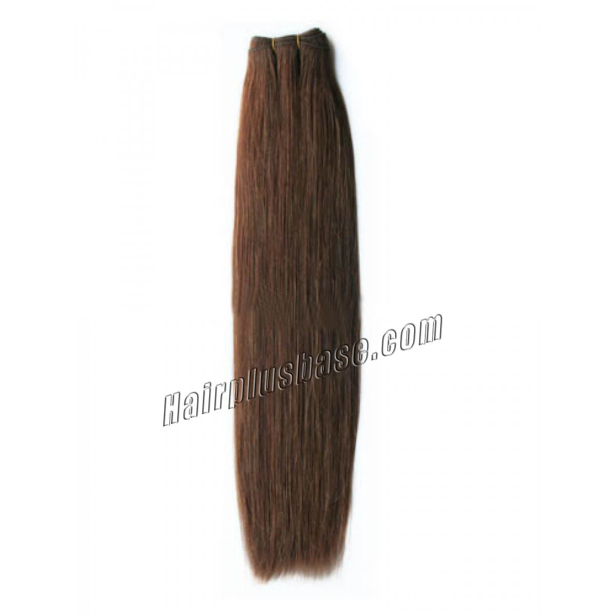 14 Inch  #6 Light Brown Straight Brazilian Virgin Hair Wefts no 1