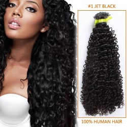 14 Inch #1 Jet Black Afro Curl Indian Remy Hair Wefts