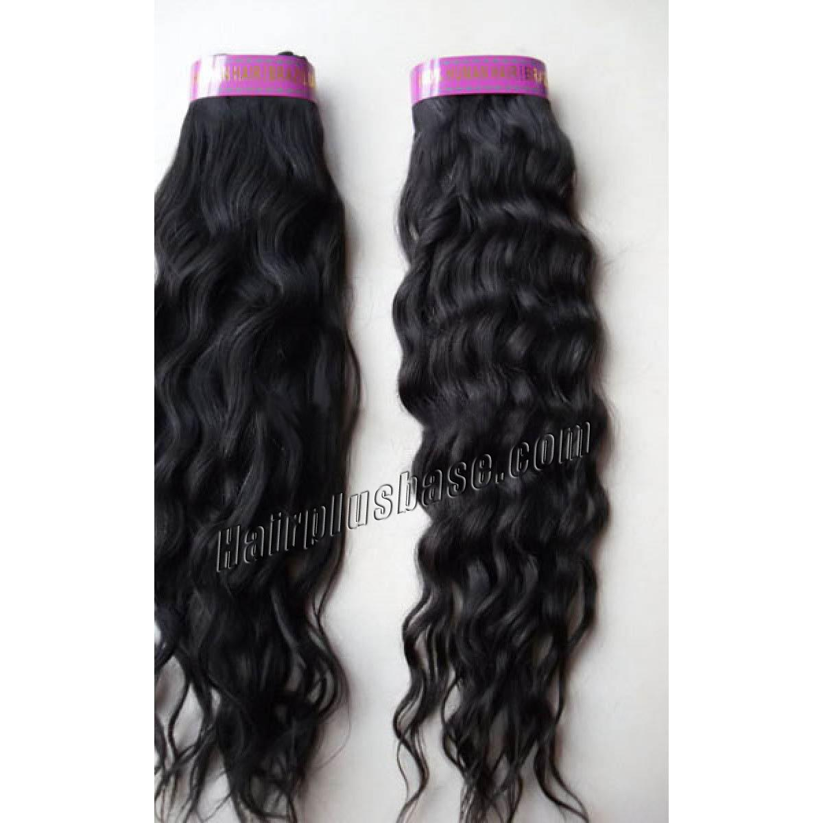 14 Inch #1 Jet Black Curly Brazilian Virgin Hair Wefts no 1