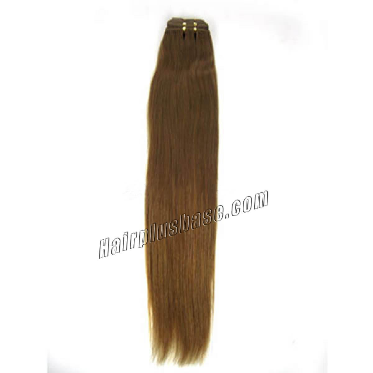 14 Inch #12 Golden Brown Straight Indian Remy Hair Wefts no 1