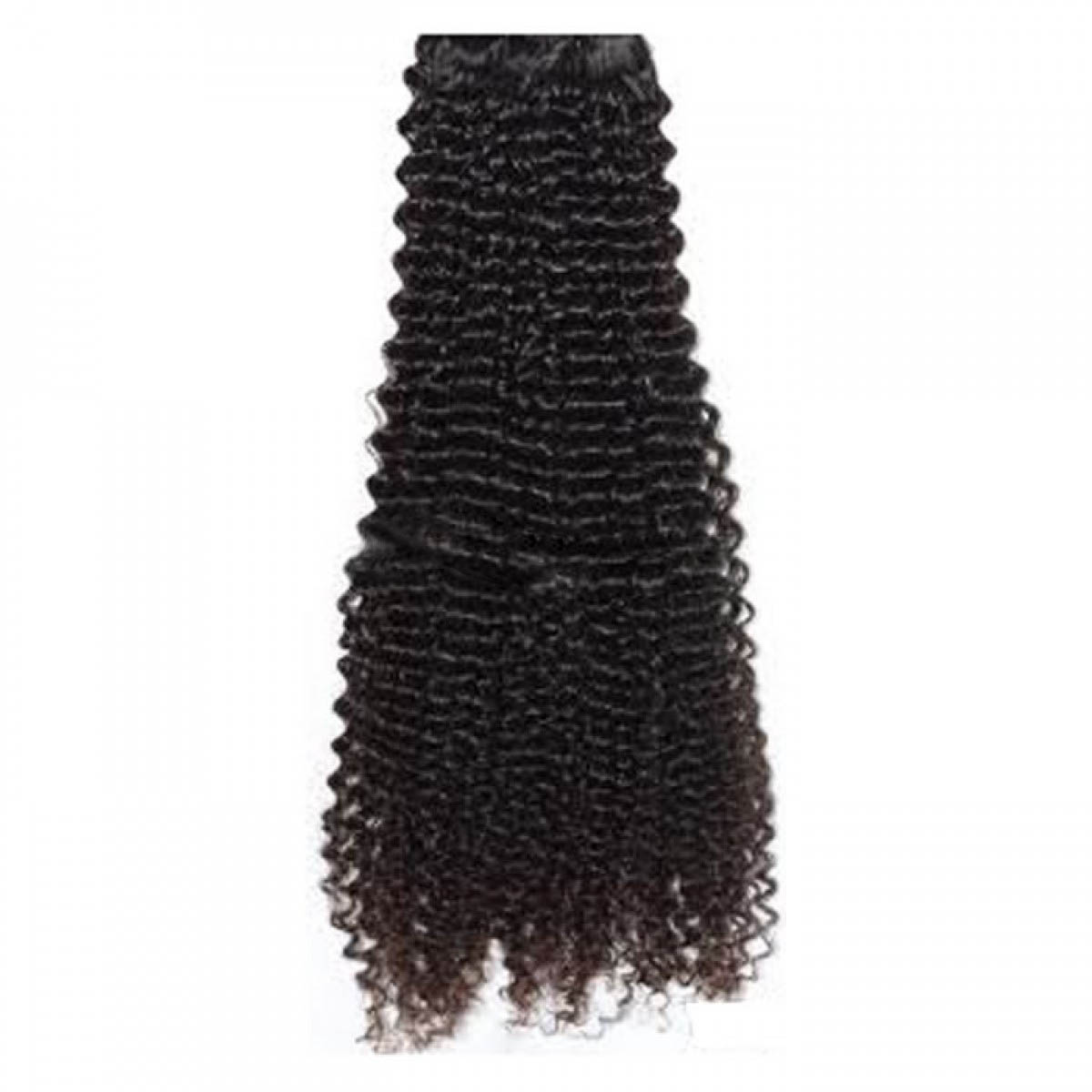 14 Inch #1b Natural Black Afro Curl Indian Remy Hair Wefts no 1