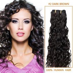 14 Inch #2 Dark Brown Curly Brazilian Virgin Hair Wefts