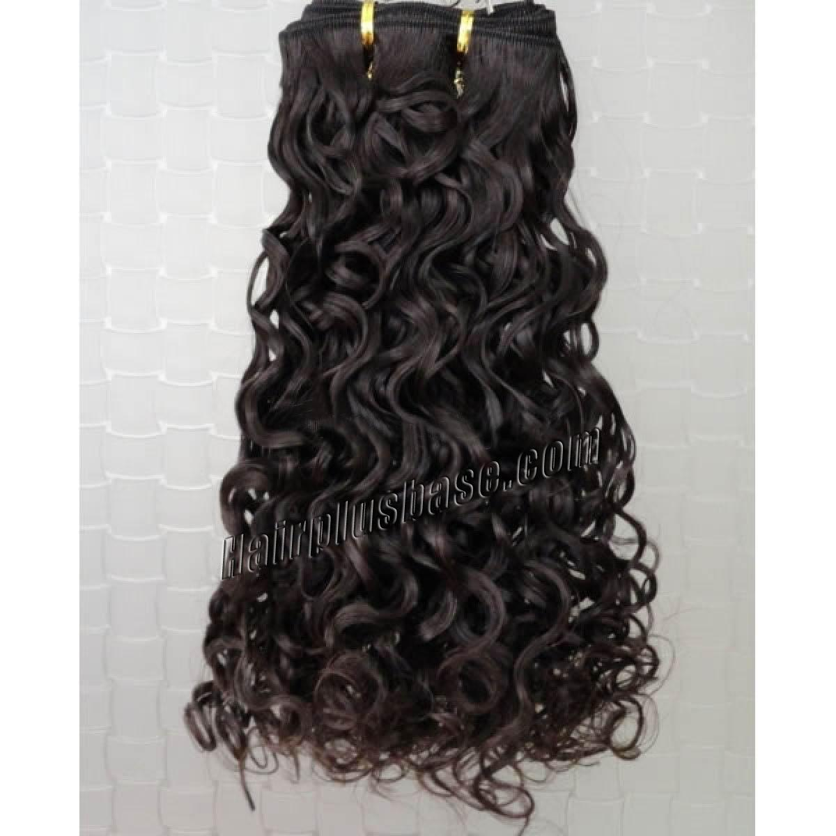 14 Inch #2 Dark Brown Curly Indian Remy Hair Wefts no 1