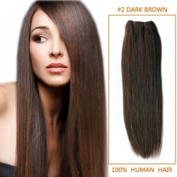 14 Inch #2 Dark Brown Straight Brazilian Virgin Hair Wefts