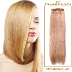14 Inch #27 Strawberry Blonde Straight Brazilian Virgin Hair Wefts