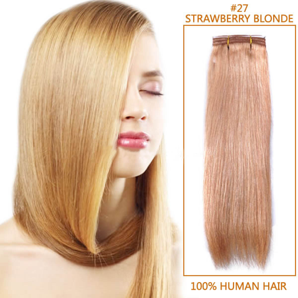 Inch #27 Strawberry Blonde Straight Indian Remy Hair Wefts