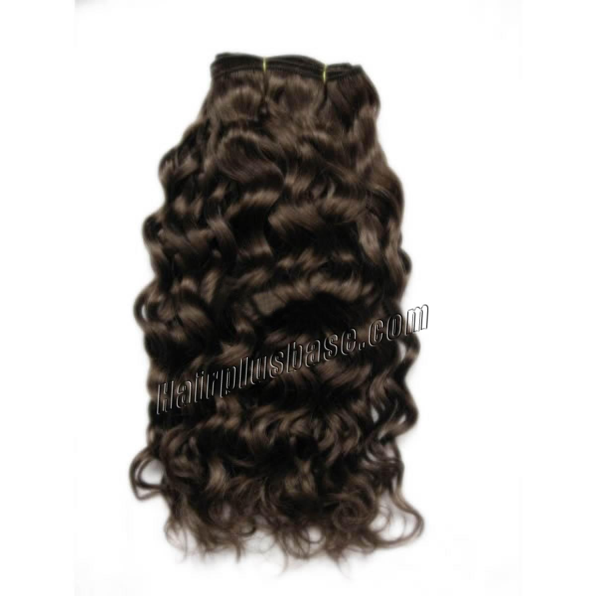 14 Inch #4 Medium Brown Curly Indian Remy Hair Wefts no 1