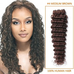14 Inch #4 Medium Brown Deep Wave Brazilian Virgin Hair Wefts