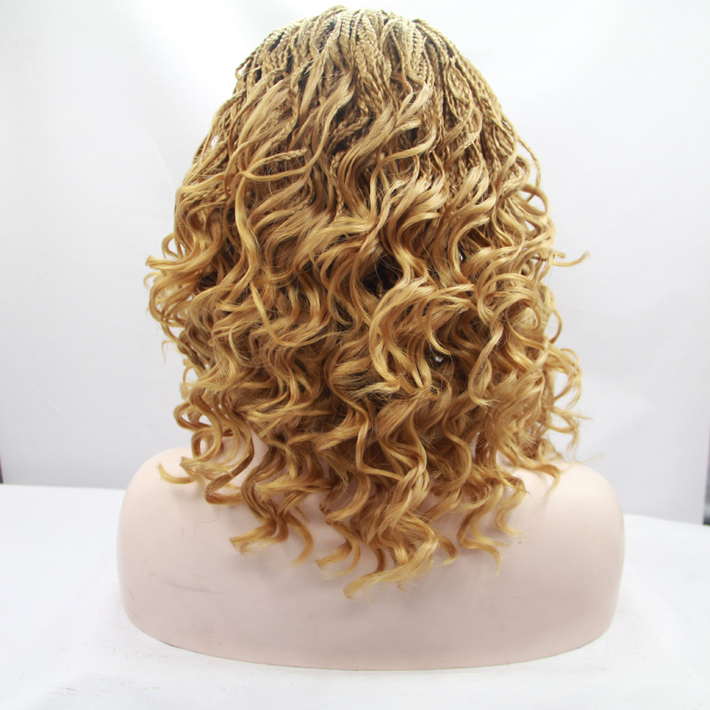 14 Inch African American Blonde Curly Braiding Lace Front Wigs 1