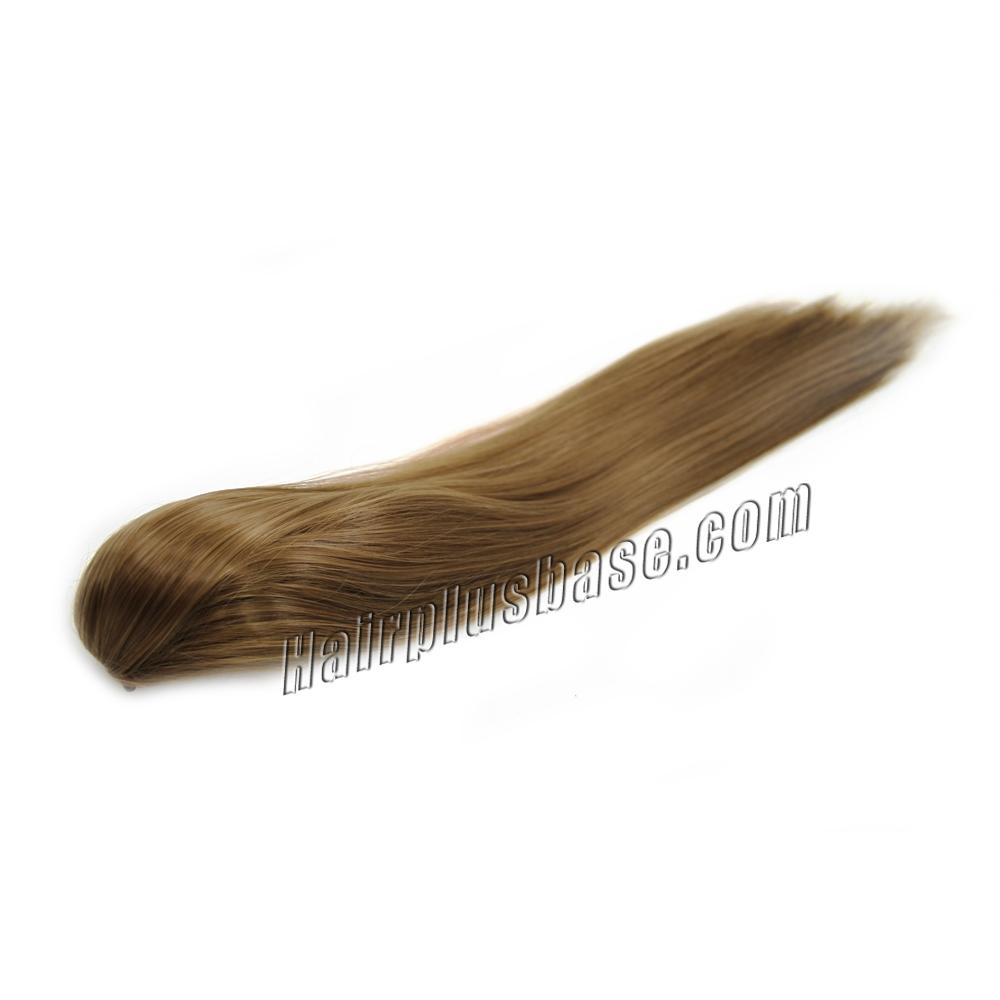 14 Inch Claw Clip Human Hair Ponytail Sleek Straight #8 Ash Brown no 2