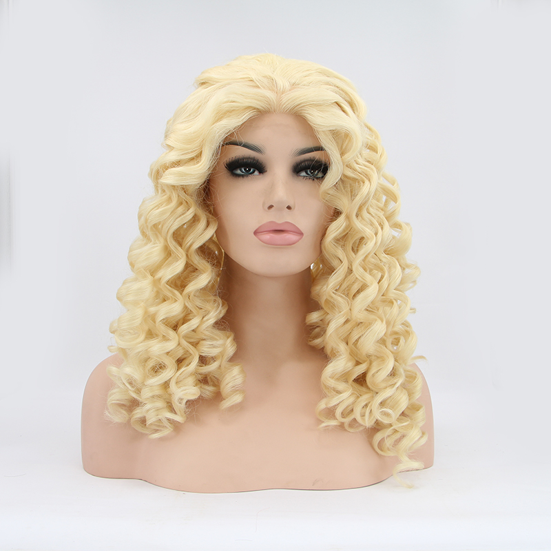 14 Inch Deep Wave Blonde Glueless Synthetic Lace Front Wig