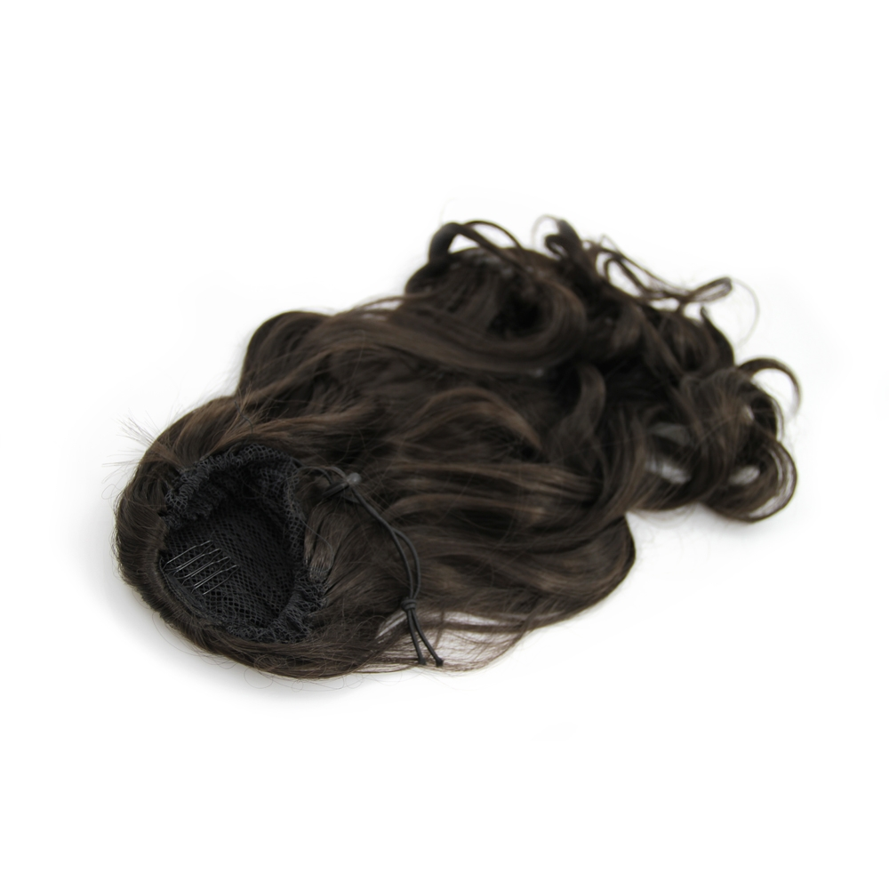 14 Inch Drawstring Human Hair Ponytail Casual Curly #2 Dark Brown