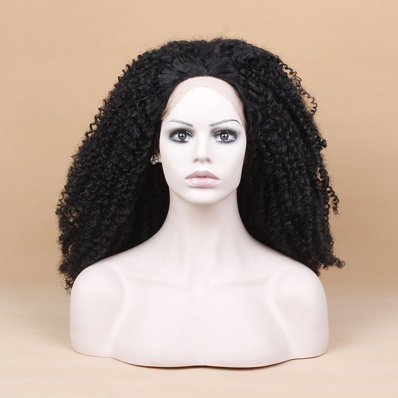 14 Inch Fashion Loose Curl Black Synthetic Lace Front Hair Wigs