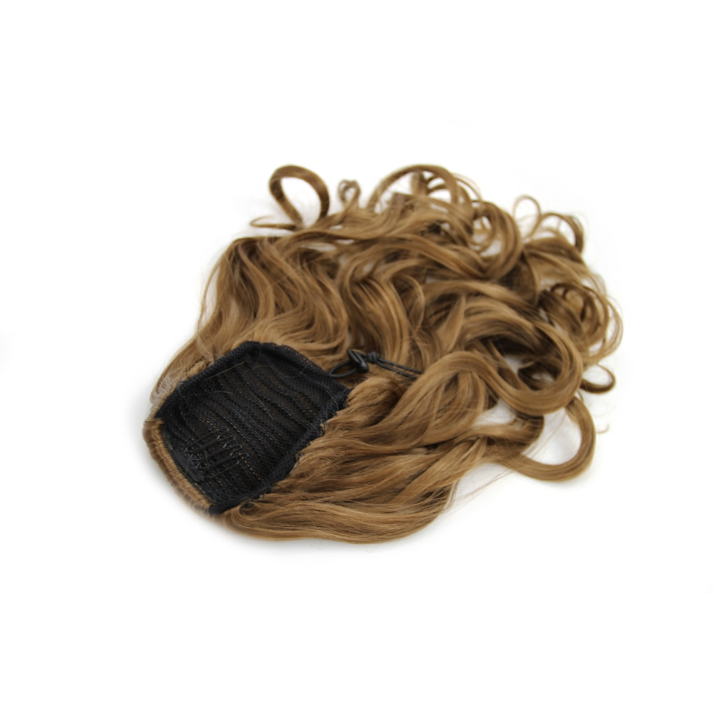14 Inch Favourable Drawstring Human Hair Ponytail Curly #8 Ash Brown