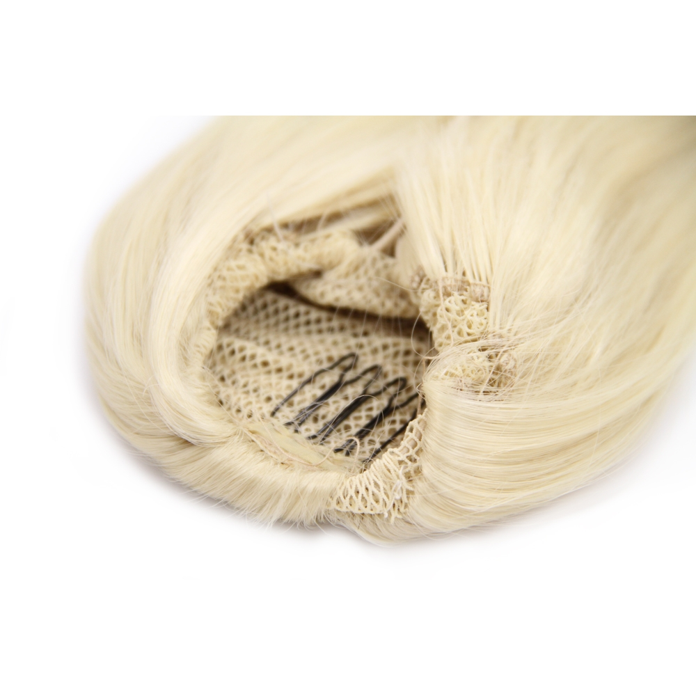 14 Inch Fine Drawstring Human Hair Ponytail Straight #613 Bleach Blonde no 1