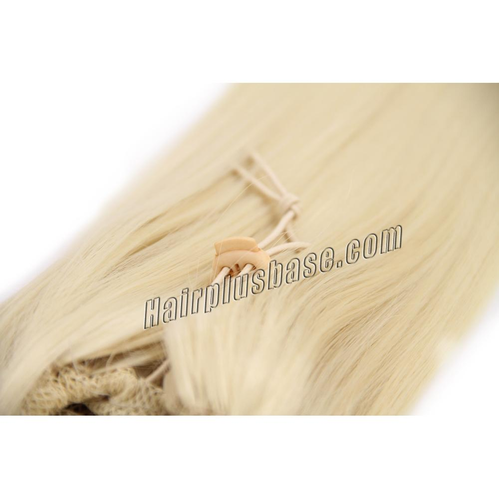 14 Inch Fine Drawstring Human Hair Ponytail Straight #613 Bleach Blonde no 2