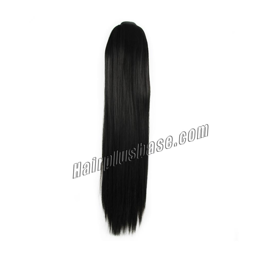14 Inch Flexible Lace/Ribbon Human Hair Ponytail Straight #1B Natural Black no 1