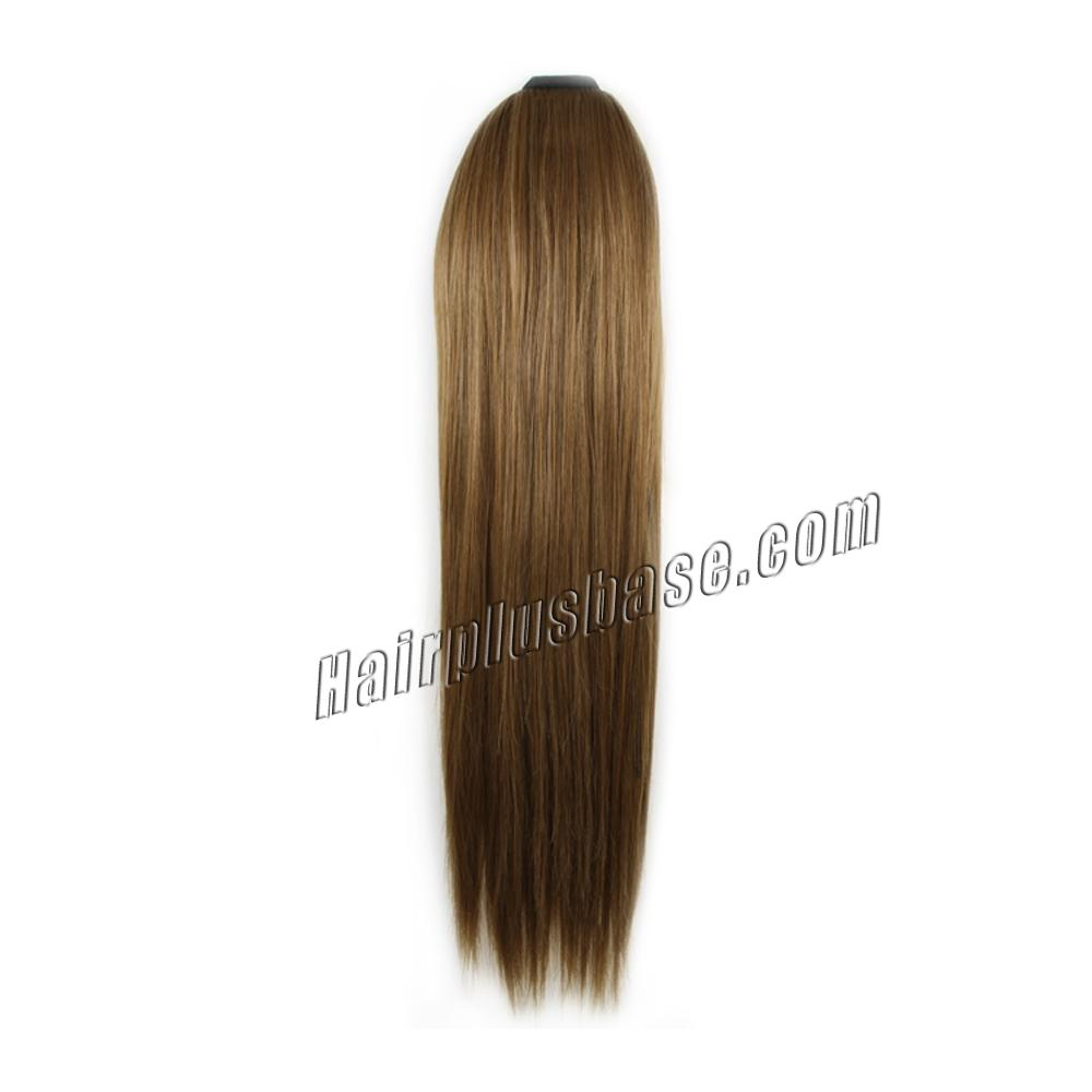 14 Inch Gilded Lace/Ribbon Human Hair Ponytail Straight #8 Ash Brown no 1