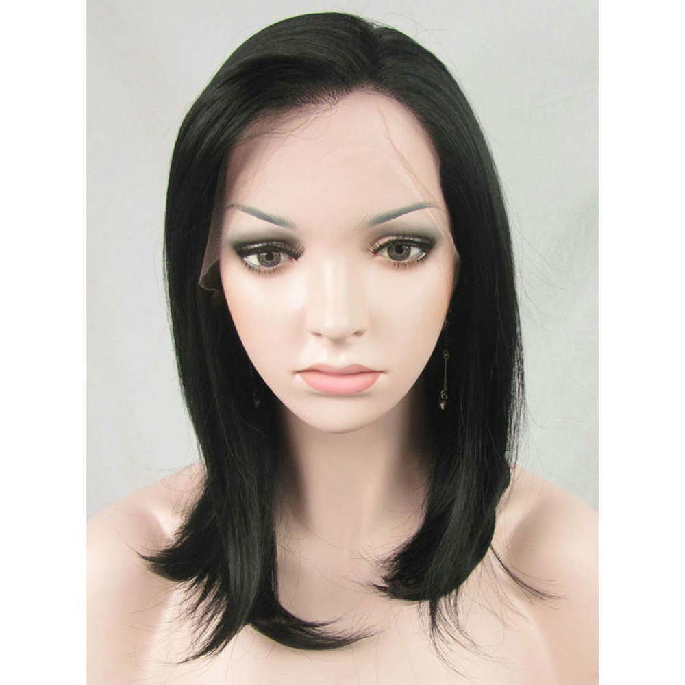 14 Inch Glueless Black Medium Bob Lace Front Wig