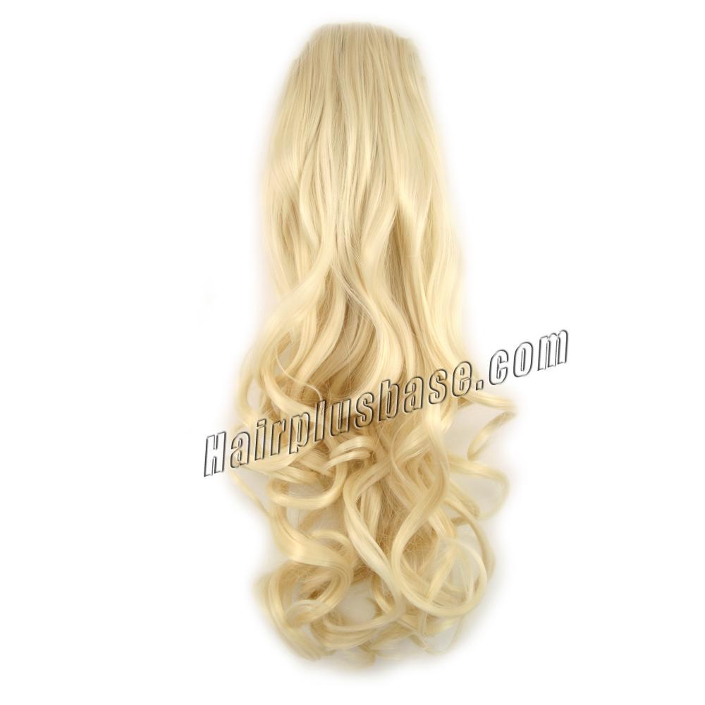 14 Inch Graceful Drawstring Human Hair Ponytail Straight #60 White Blonde no 1