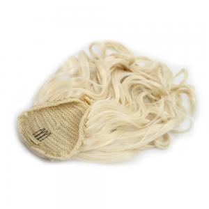 14 Inch Graceful Drawstring Human Hair Ponytail Curly #60 White Blonde