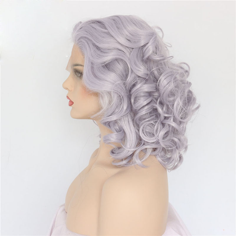 14 Inch Handmade Grey Curly  Synthetic Lace Front Wigs 1