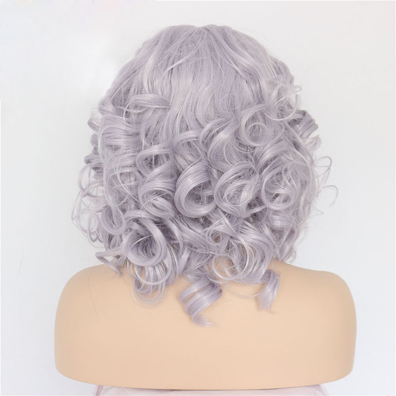 14 Inch Handmade Grey Curly  Synthetic Lace Front Wigs 2