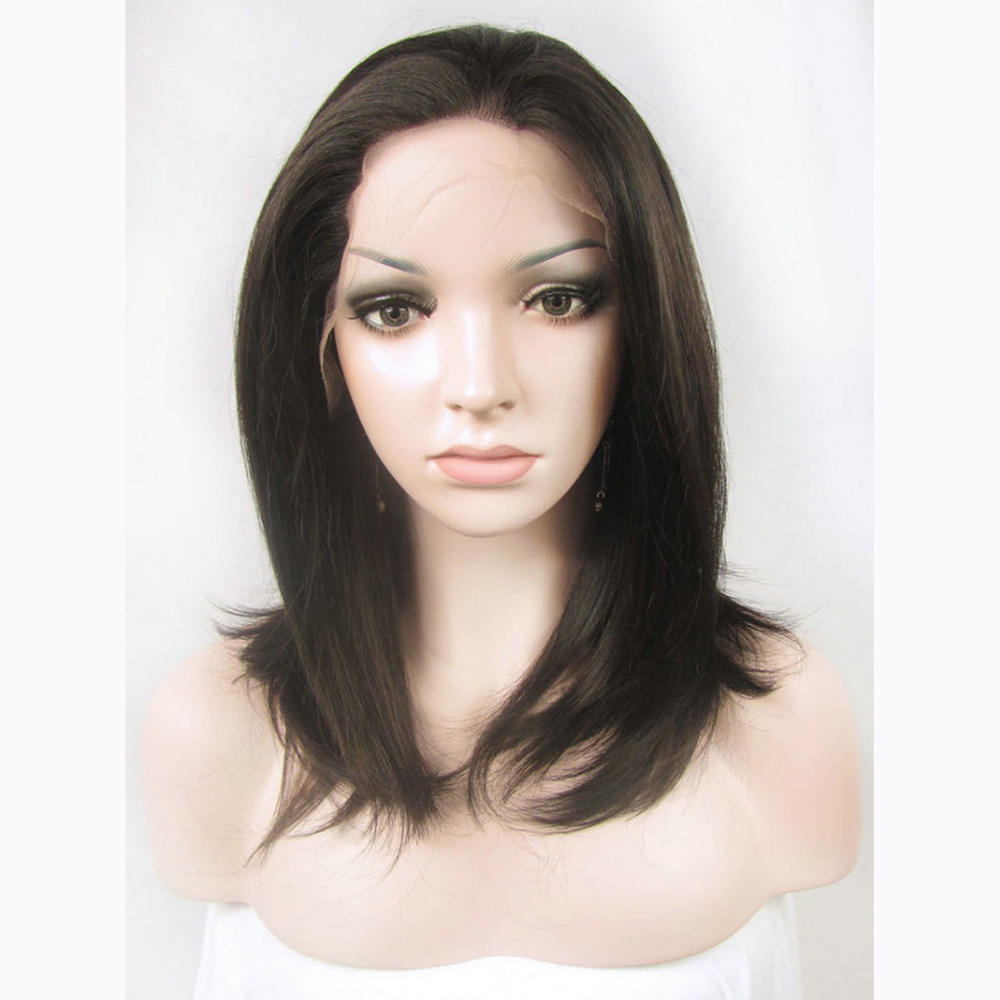 14 Inch Handmade Natural Black Medium Bob Lace Front Wig