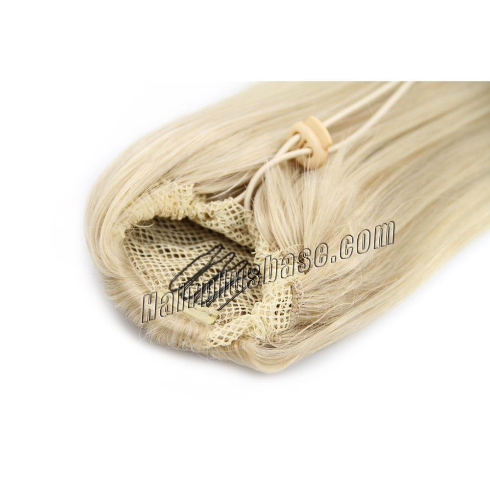 14 Inch High Quality Drawstring Human Hair Ponytail Straight #24 Ash Blonde no 1