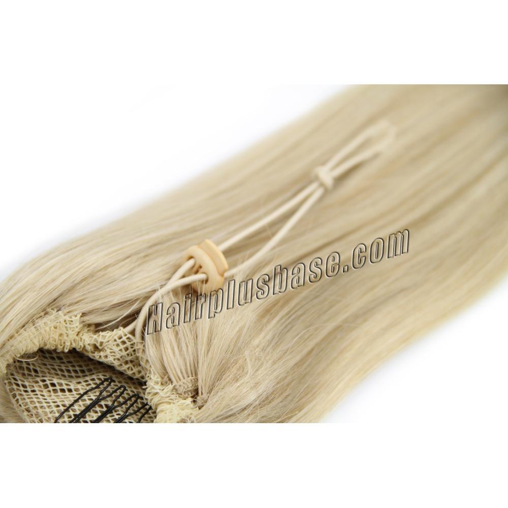 14 Inch High Quality Drawstring Human Hair Ponytail Straight #24 Ash Blonde no 2