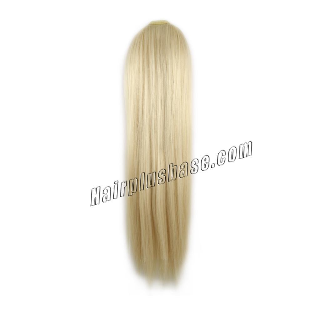 14 Inch Lace/Ribbon Human Hair Ponytail Elegant Straight #60 White Blonde no 1