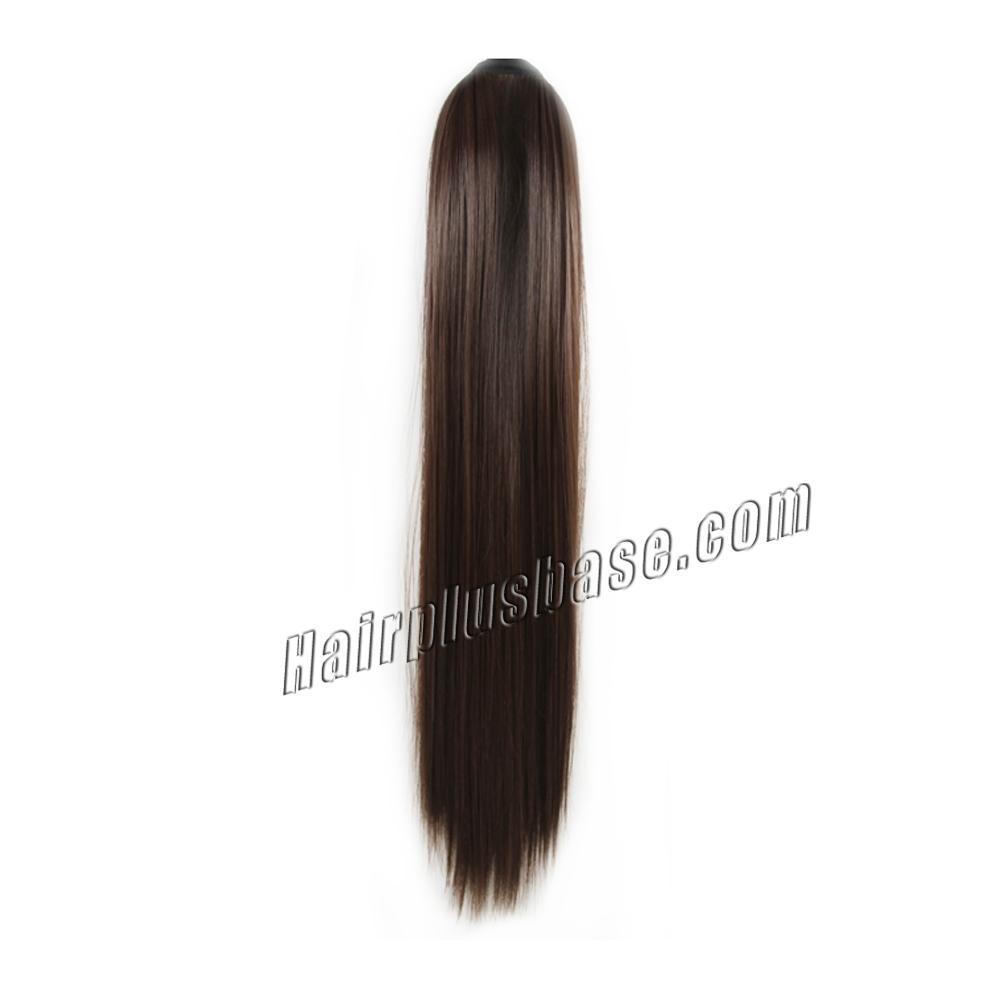 14 Inch Lace/Ribbon Human Hair Ponytail Ladylike Straight #4 Medium Brown no 1