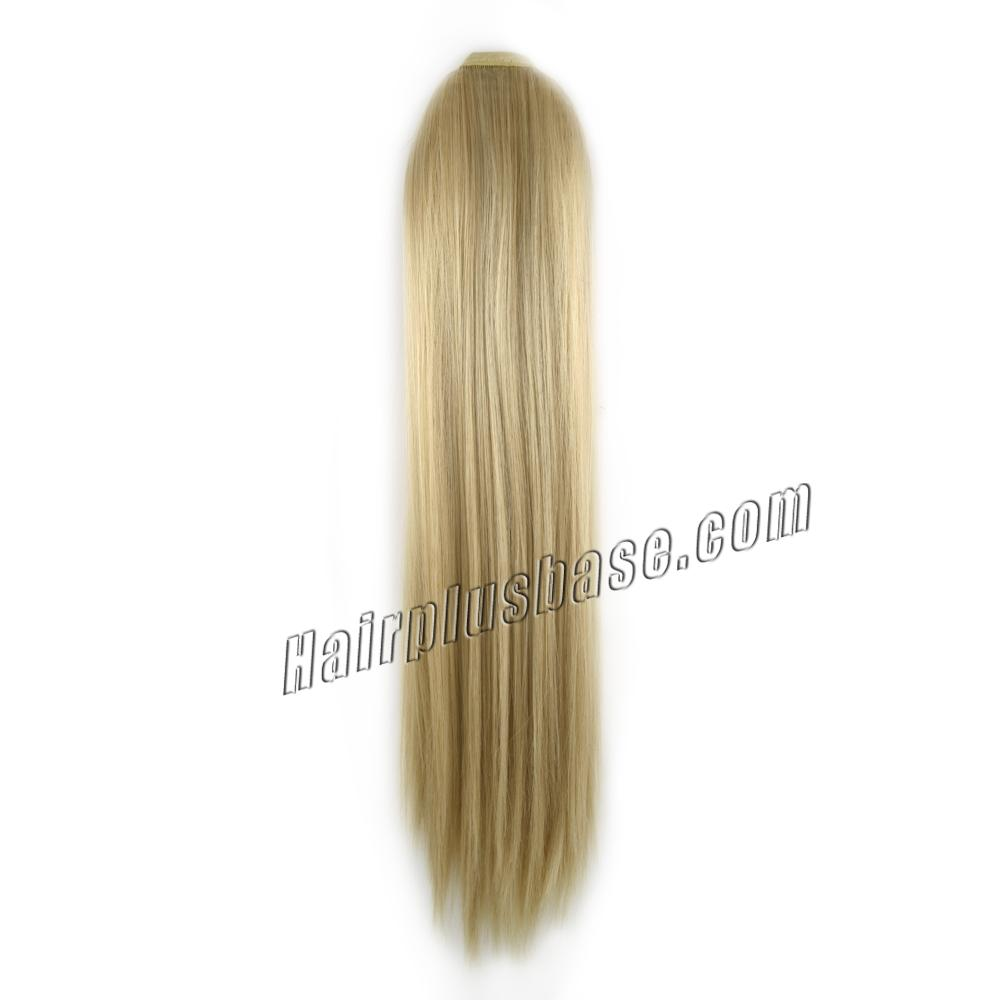 14 Inch Lace/Ribbon Human Hair Ponytail Neat Straight #24 Ash Blonde no 1