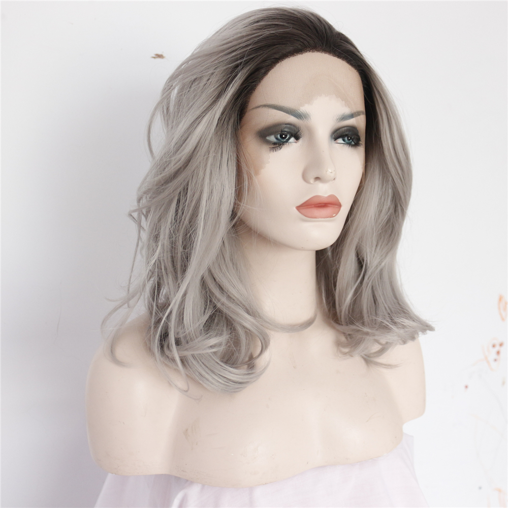 14 inch Long Chic Ombre Messy Bob Lace Front Wig 1