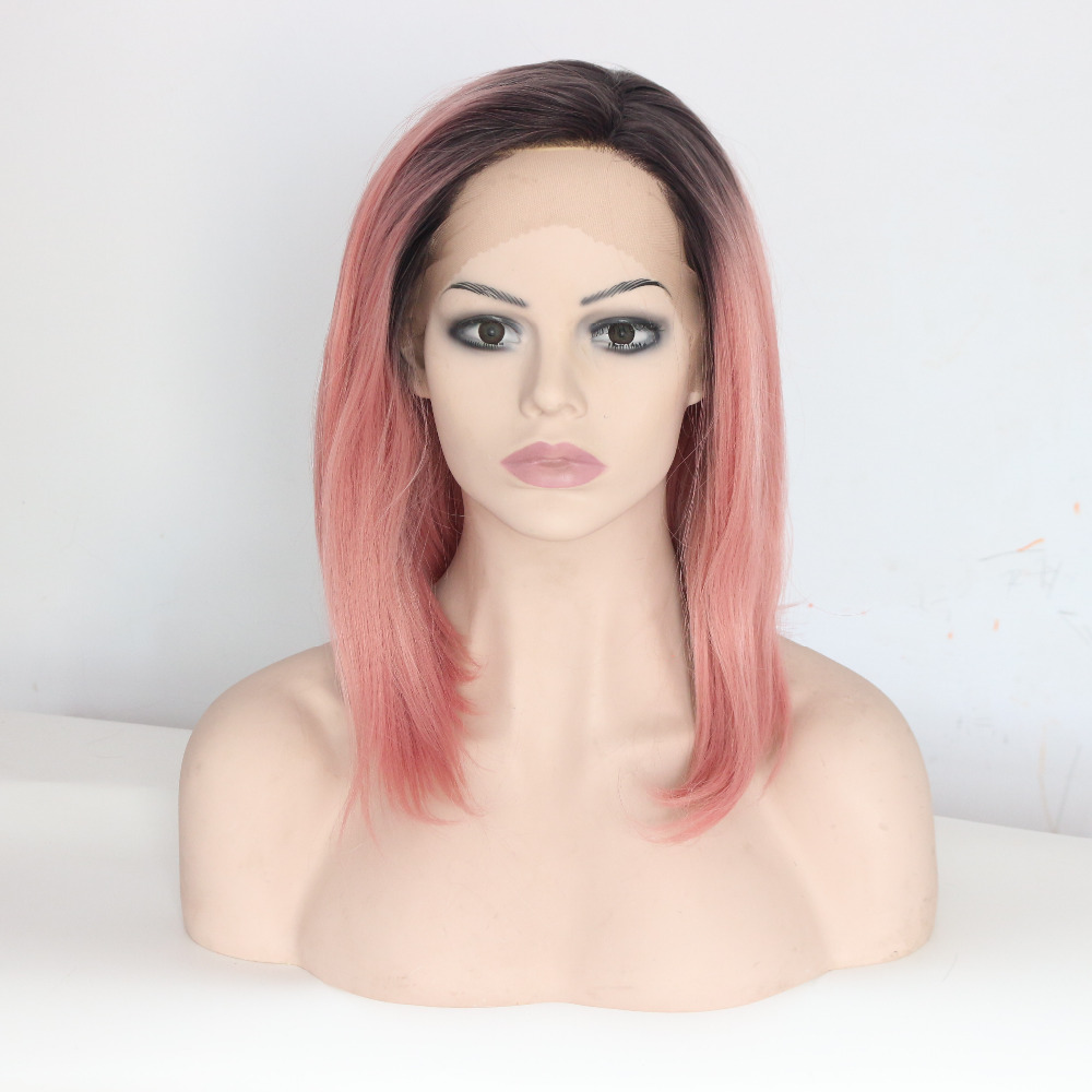 14 Inch Pink Straight Bobo Lace Front Synthetic Wigs