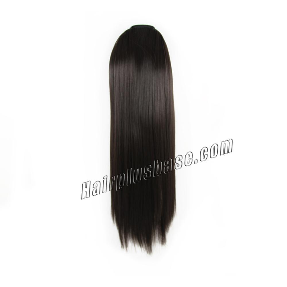 14 Inch Succinct Lace/Ribbon Human Hair Ponytail Straight #2 Dark Brown no 1