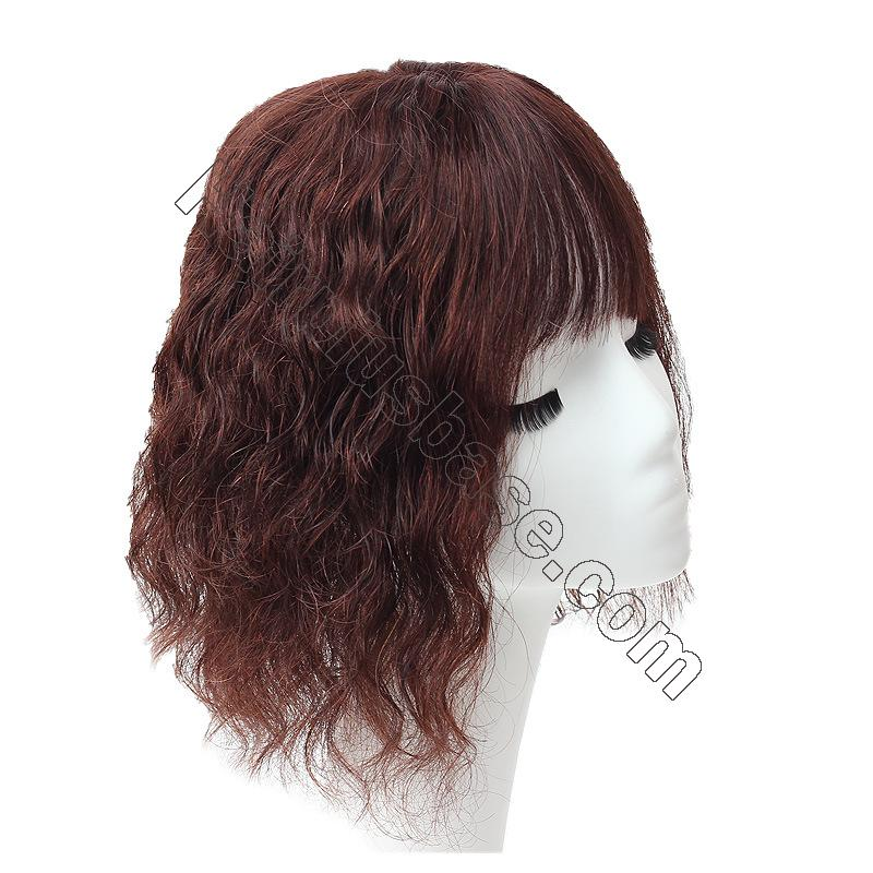 14 Inch Water Wave Hair Toppers with Bangs Human Hair Extension Clip in Top Crown Hairpieces 4