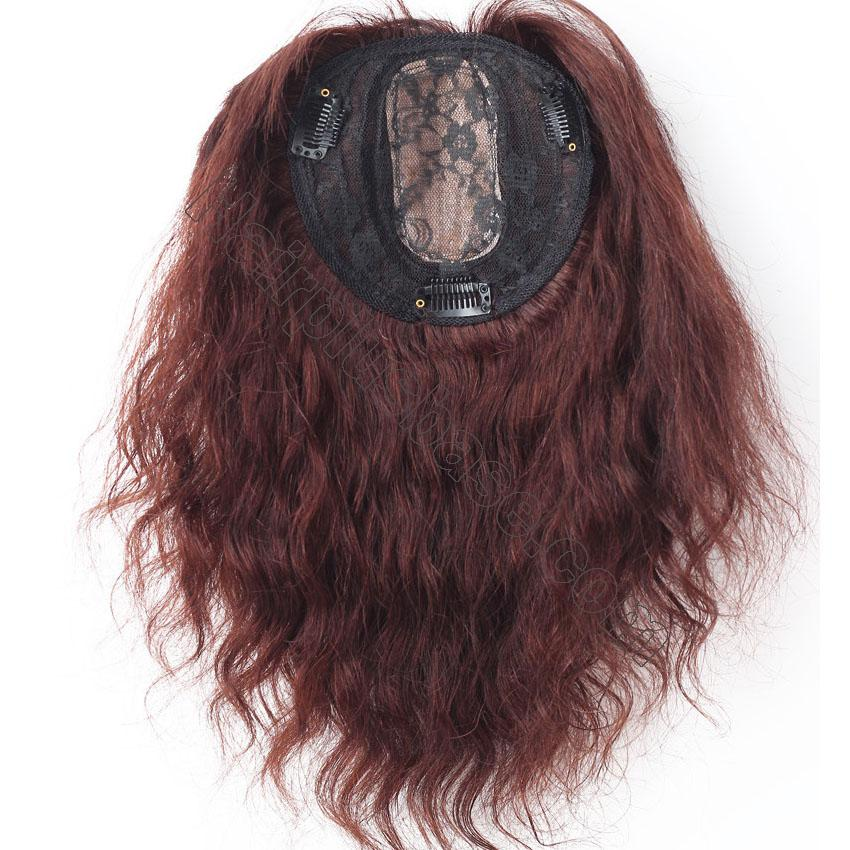 14 Inch Water Wave Hair Toppers with Bangs Human Hair Extension Clip in Top Crown Hairpieces 5