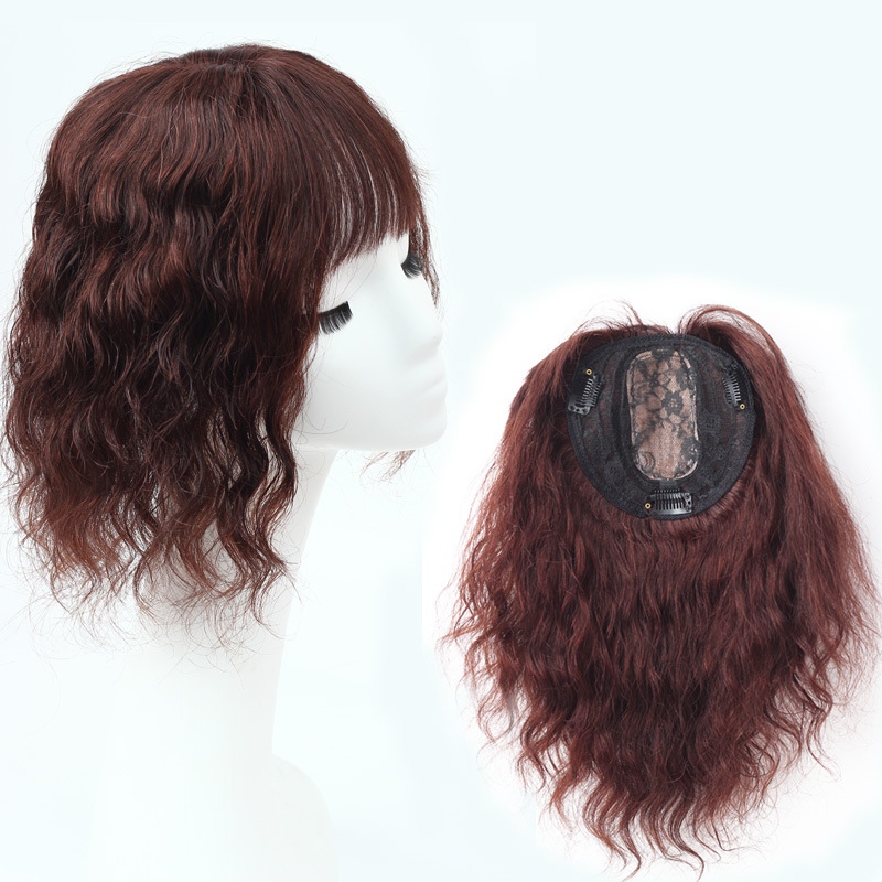14 Inch Water Wave Hair Toppers with Bangs Human Hair Extension Clip in Top Crown Hairpieces 8