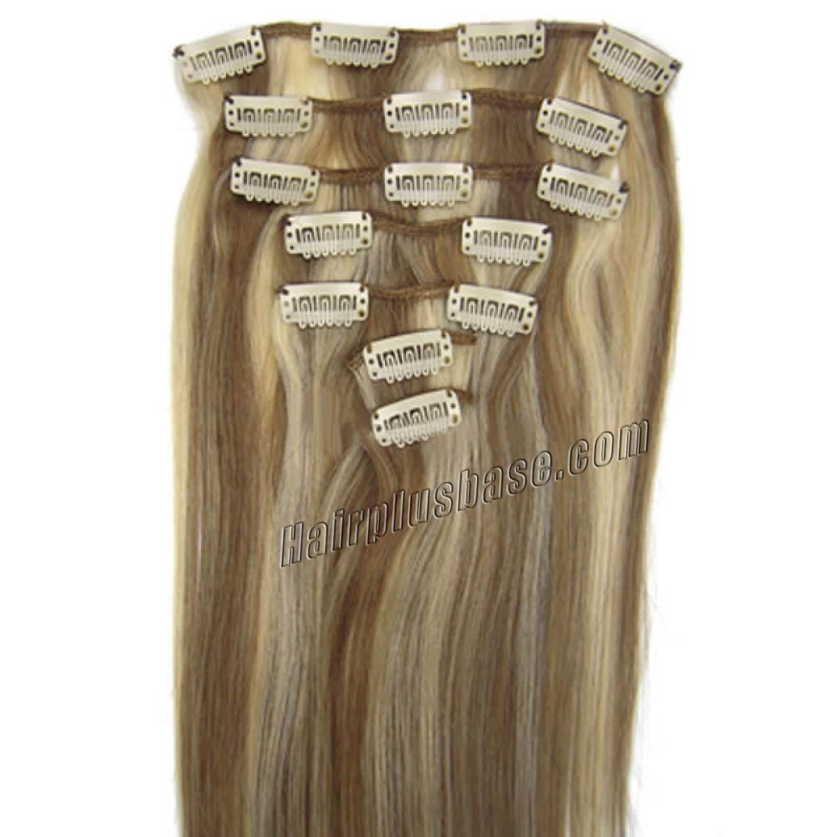 15 Inch #12/613 Clip In Human Hair Extensions 7pcs no 1