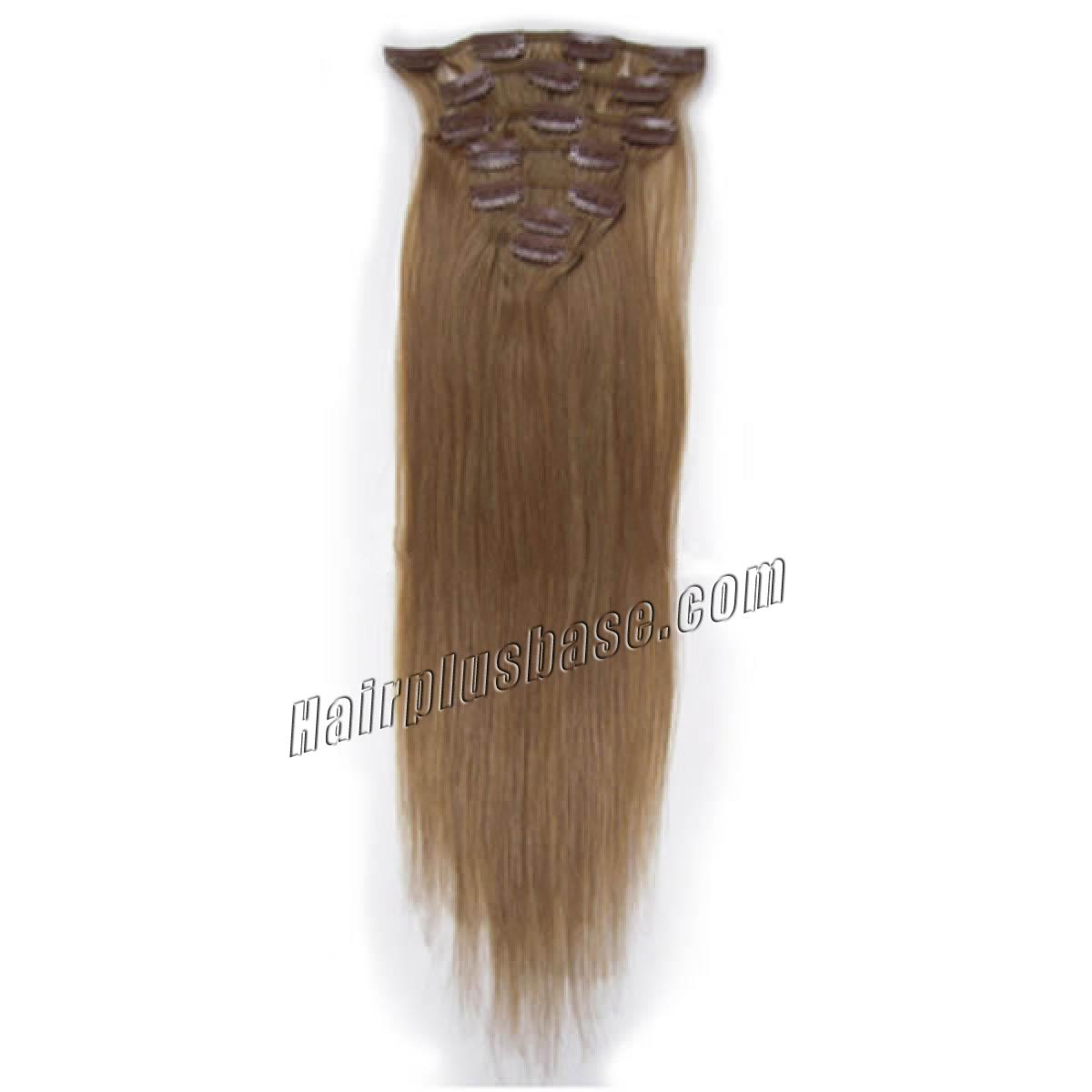 15 Inch #12 Golden Brown Clip In Human Hair Extensions 7pcs no 2