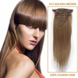 15 Inch #12 Golden Brown Clip In Human Hair Extensions 9pcs