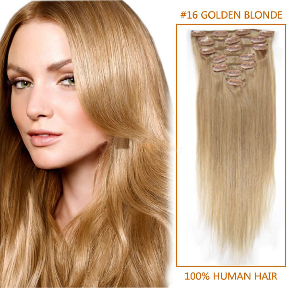 15 Inch 16 Golden Blonde Clip In Human Hair Extensions 9pcs